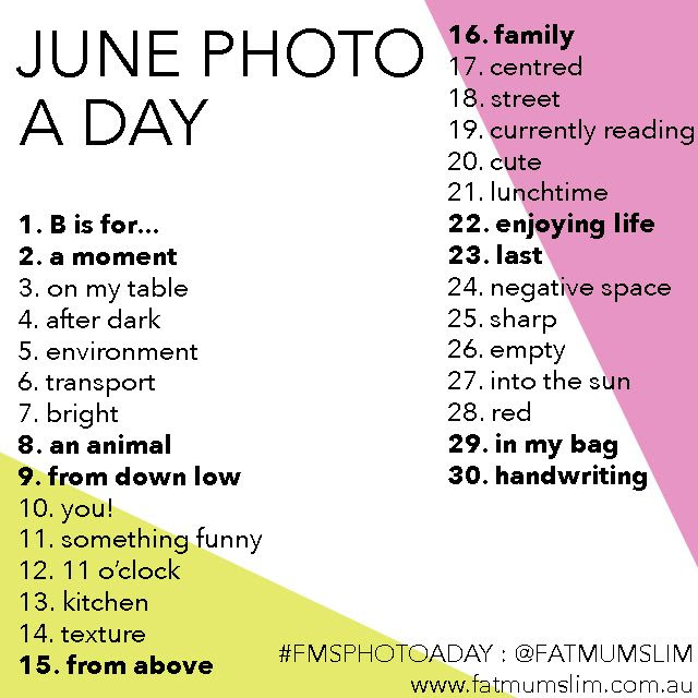 June photo a day challenge list
