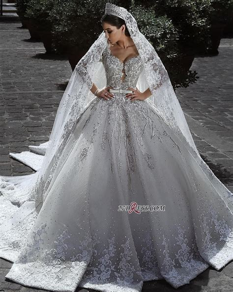 Glamorous Long Sleeve Ball Gown Wedding Dress   2019 Lace