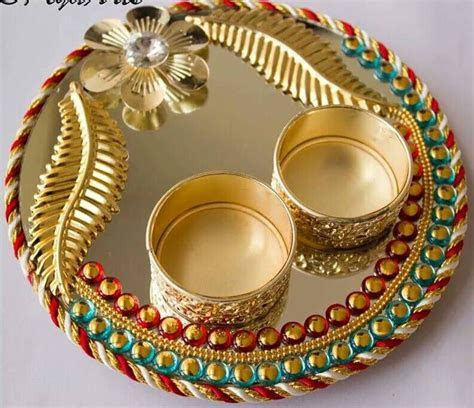 very easy plate to make   POOJA THALI   Thali decoration