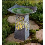 Lighted Resin Birdbath with Hand-Glazed Bowl