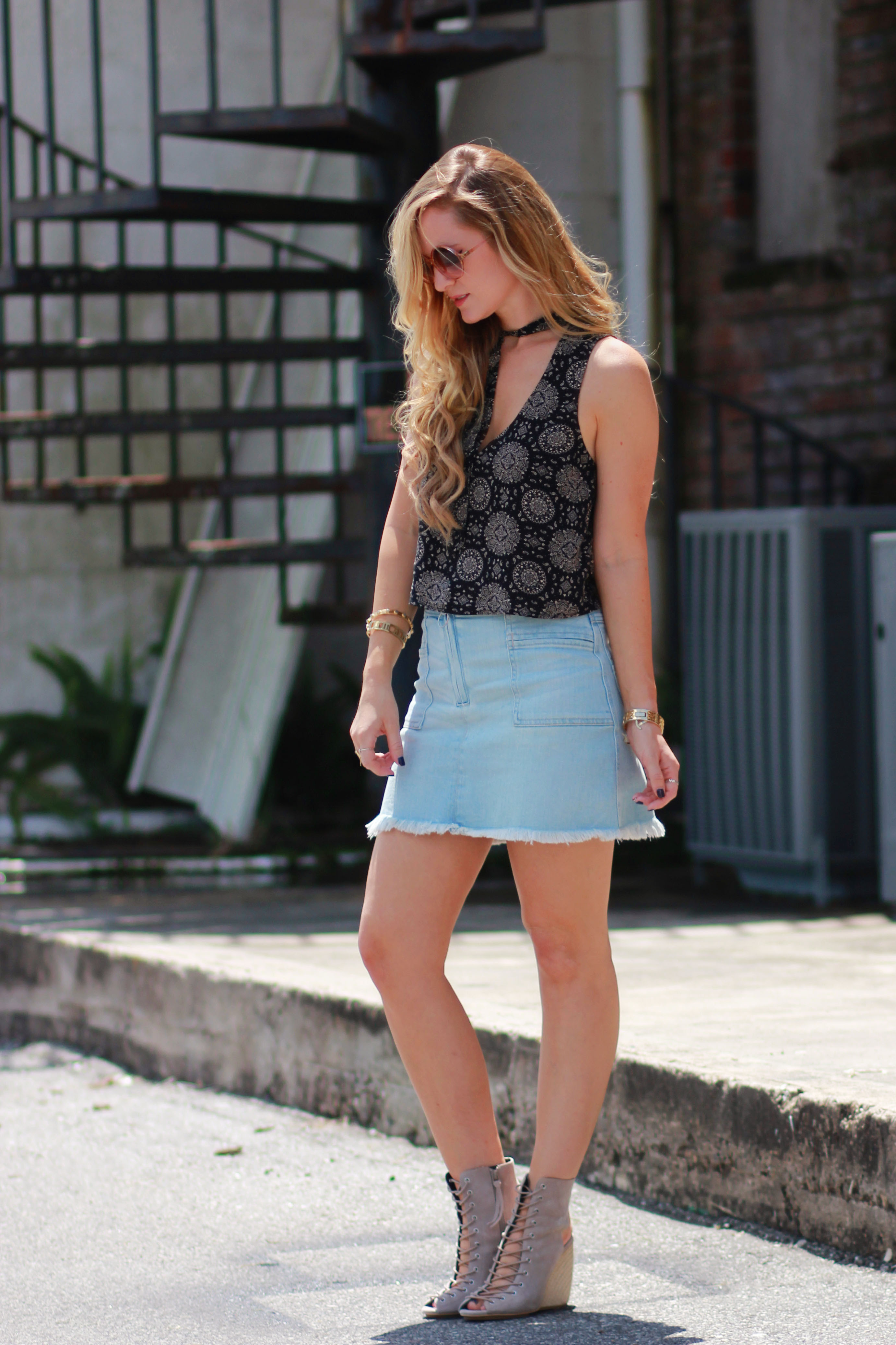 denim skirt outfit  upbeat soles  orlando florida