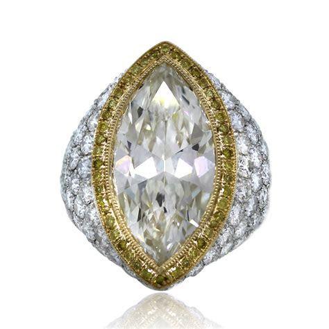 Platinum & 18k Yellow Gold 7.22 Carat Marquise Cut Pave