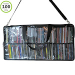 Evelots CD Storage bag-See Thru-All Around Zipper-Shoulder Handle-Holds 100 CD's