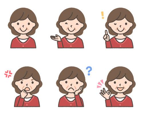 おばさん中年女性の表情イラスト6種 可愛い無料イラスト人物素材