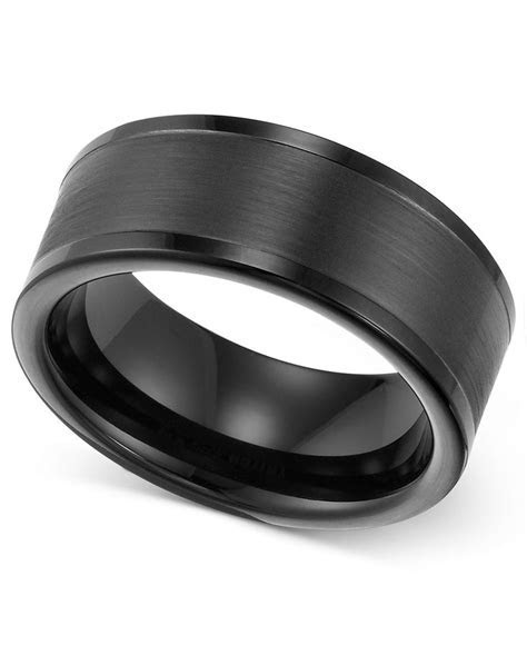 Triton Men's Ring, 8mm Black Tungsten Wedding Band   Rings