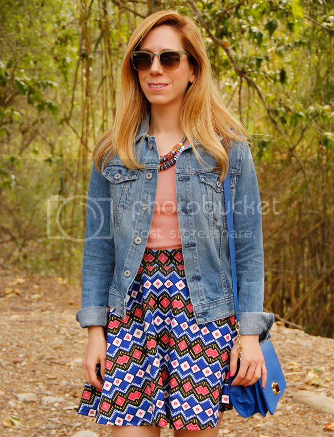 LA fashion blogger The Key To Chic wears a Target Style world printed skirt with Ray Ban Clubmaster sunglasses, AG Jeans Robyn denim jacket and a blue Merona crossbody bag