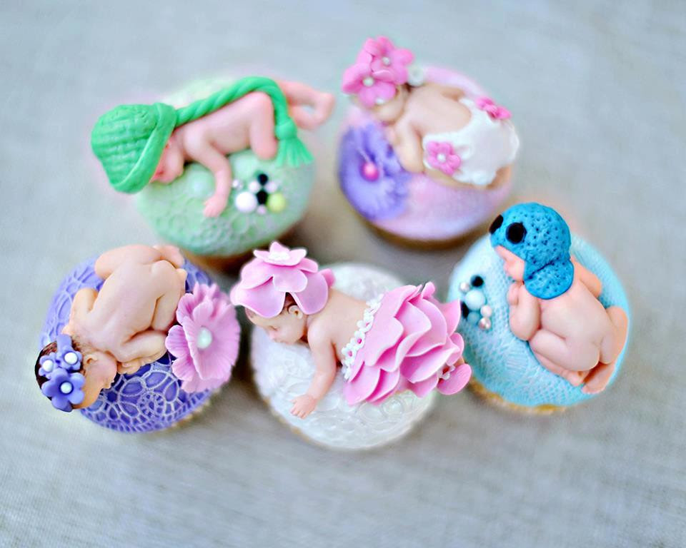 Edible baby fondant cupcake toppers for a newborn and ...