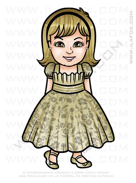caricatura desenho, caricatura infantil, caricatura menina vestido, caricatura aniversário, desenho personalizado, by ila fox