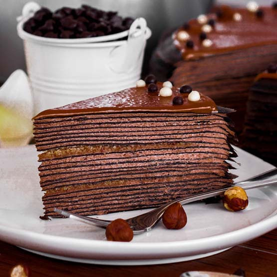 Sliced_Hazelnut Chocolate Mille Crepe