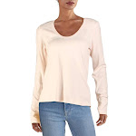 James Perse Womens Cotton Blend Scoop Neck Sweater Pink