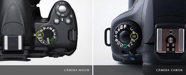 """Imagem de câmeras com destaque para o indicador """"M"""" do modo manual no seletor (Foto: Reprodução)"""