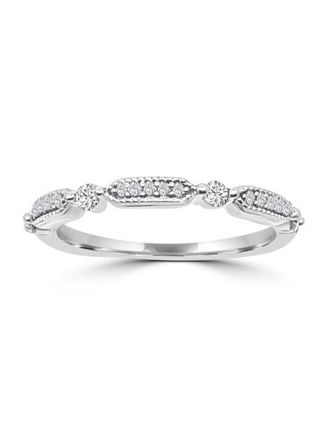 1/5ct Round Diamond 10k White Gold Hexa Dot Wedding Band Ring