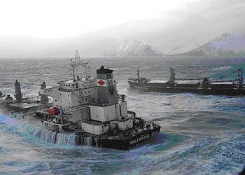English: the 738-foot bulk carrier M/V Selenda...
