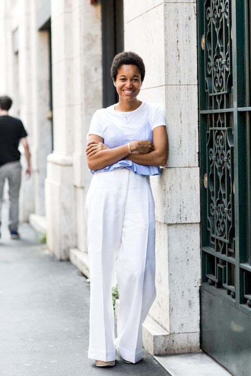 Street Style Cropped Pleated Shirt Wide Leg White Pants Via Sandra Semburg Le Fashion Blog