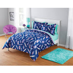 E & E Co., Ltd. Your Zone Inky Feather Foil Full/Queen Comforter And Sham Set #55350490, Multi-Color