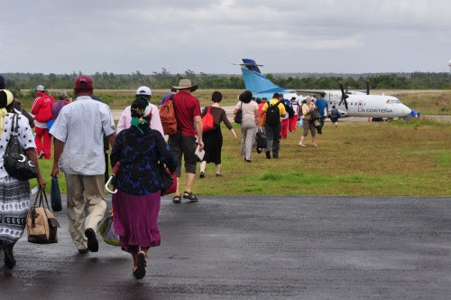 Boarding the plane in Puerto Cabezas to return to Managua.