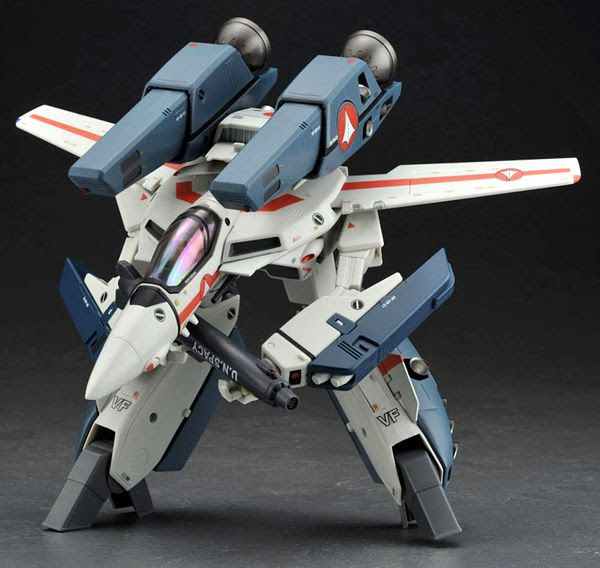 A Valkyrie fighter toy in Gerwalk mode from ROBOTECH.