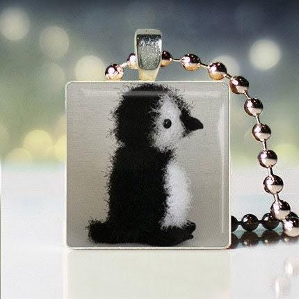 """Christina Perri inspired """"Penguin"""" Scrabble Tile Pendant"""