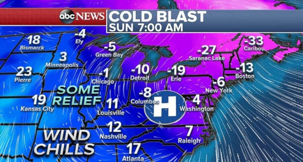 PHOTO: Parts of the central U.S. will experience some relief from the bitter cold on Sunday.