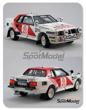 Maqueta de coche 1/24 Scuderia Italia.Lab - Toyota Celica TA64 Group B Duckhams oil - Nº 2, 21 - Bjorn Waldegard + Fred Gallagher - Safari Rally Costa de Marfil 1985 - 1986 - kit Multimedia