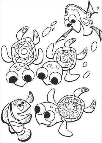 Coloriage Nemo Dory Et Trois Petites Tortues Coloriages à