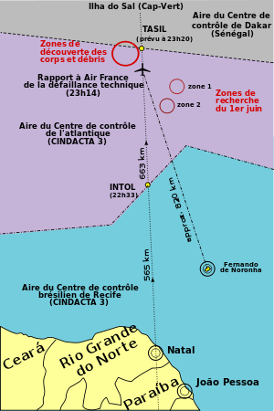 Map showing the Air France Flight 447 search a...