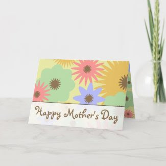 Retro Pastel Flowers Mother's Day Card card