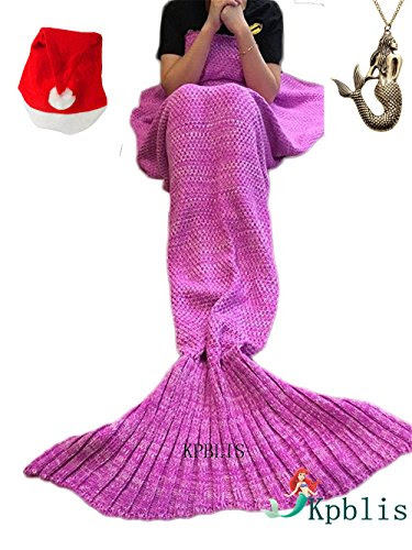 Kpblis 71x35-Inch Knitted Mermaid Blanket, Pink
