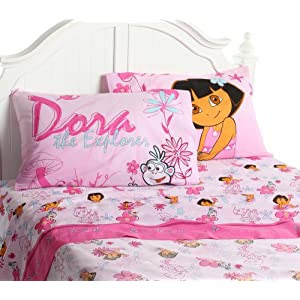 Dora Bedding: Dora the Explorer Playful Garden Sheet Set Price on Sale