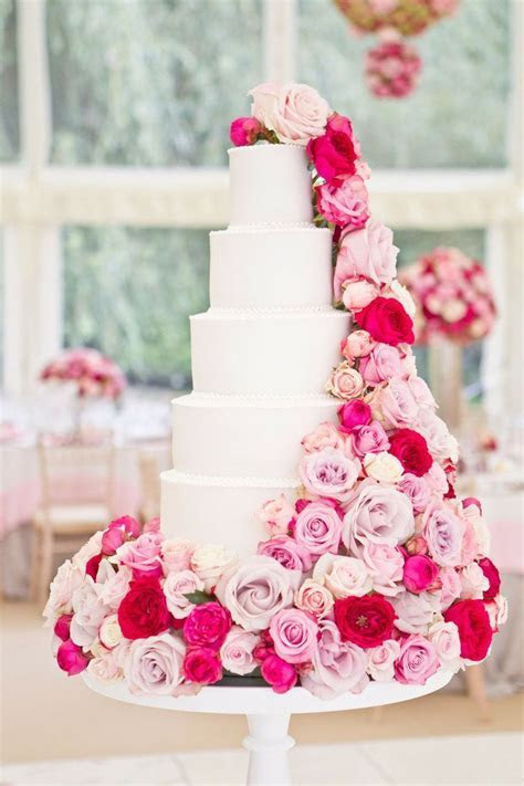 beautiful white cake with pink flowers {Photography
