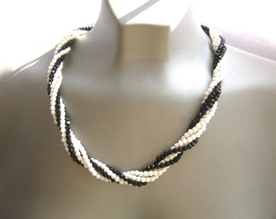Multi Strand Necklace Black & White Necklace by GimmeeDatBling, $12.50