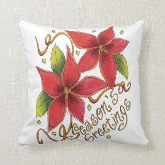 Season's Greetings Poinsettias Throw Pillows