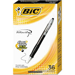 BIC Velocity Retractable Ball Pen, Black Ink, 1 mm, 36/Pack,