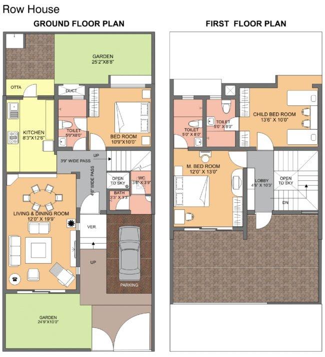 Dwarka-Chakan-Row House-Floor-Paln