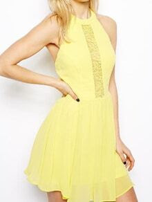 Yellow Halter Lace Backless Chiffon Dress