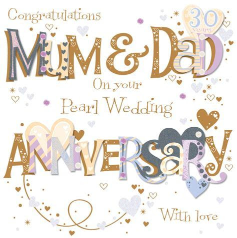 Mum & Dad Pearl 30th Wedding Anniversary Greeting Card   Cards