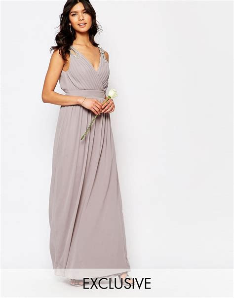 TFNC   TFNC WEDDING Wrap Embellished Maxi Dress at ASOS