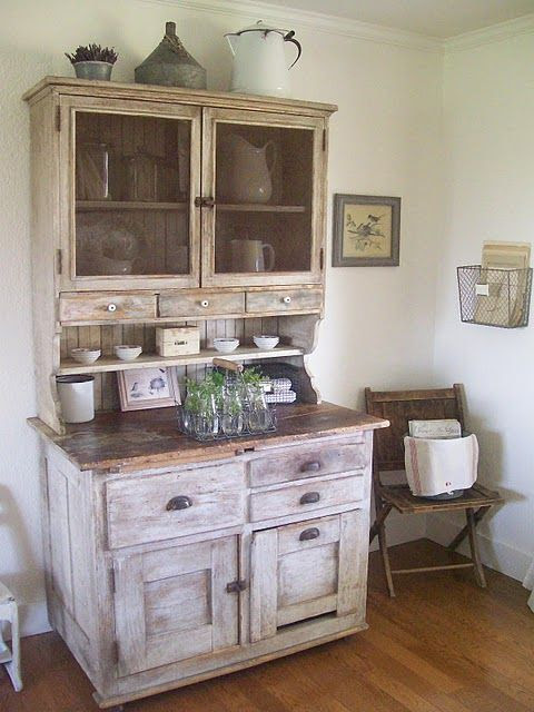I love this piece - the chippy paint, the knobs, the hutch, drawers, shelf - WOW