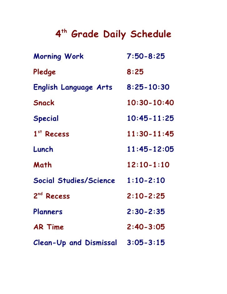 Grade 1 Daily Schedule   Daily Planner