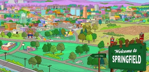 "A cidade de Springfield, cidade natal de ""Os Simpsons"""