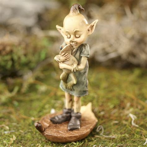 Miniature Garden Pixie and Frog Figurine   Table and Shelf