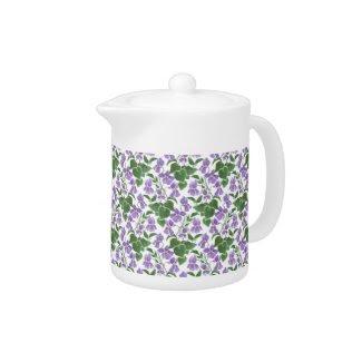 White Porcelain Teapot, Sweet Violets Pattern