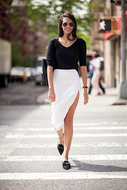 Le Fashion Blog -- 2 Ways To Wear A White Thigh Slit Skirt -- Aviator Sunglasses, Black Top, Larsson & Jennings Watch, and Prada pointy toe bow flats -- Via Elle Magazine -- Natalie Matthews photo Le-Fashion-Blog-2-Ways-To-Wear-A-White-Thigh-Slit-Skirt-Aviators-Prada-Flats-Via-Elle.jpg