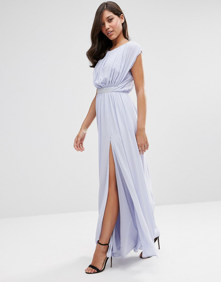 Image 1 of ASOS Embellished Waist Maxi Dress
