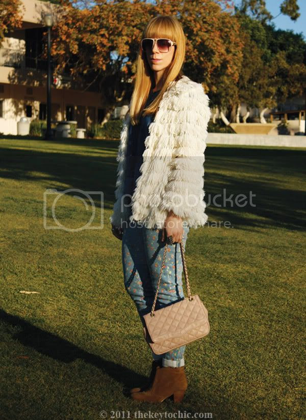 Nasty Gal Sonia shag jacket, Forever 21 floral skinny jeans, Aldo Qualheim boots, southern California fashion blog, Los Angeles fashion blogger