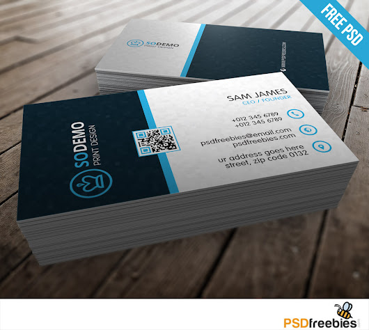 Modern Corporate Business Card Free PSD - PSDFreebies.com