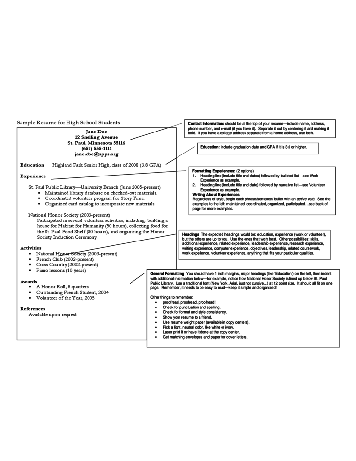 Resume Template for High School Student Free Download