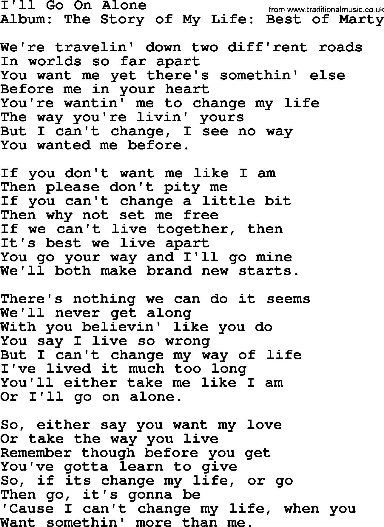 Ill Go On Alone By Marty Robbins Lyrics
