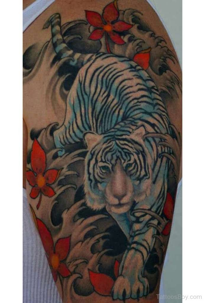 White Tiger Tattoo On Half Sleeve Tattoo Designs Tattoo Pictures