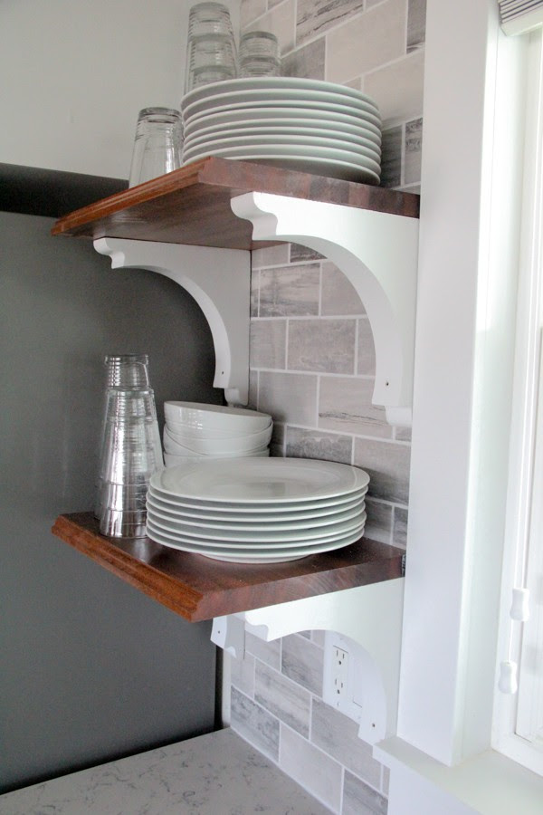 DIY Open Kitchen Shelves from Bright Green Door | Friday Favorites at www.andersonandgrant.com